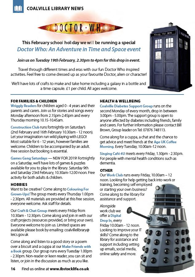 Dr Who event at Coalville Library in Feb half term