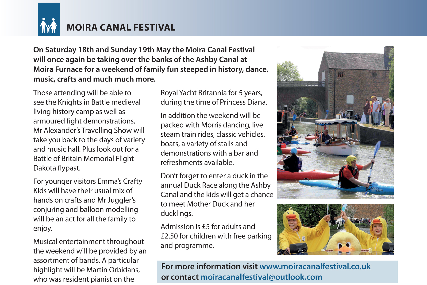 Moira Canal Festival 18-19 May