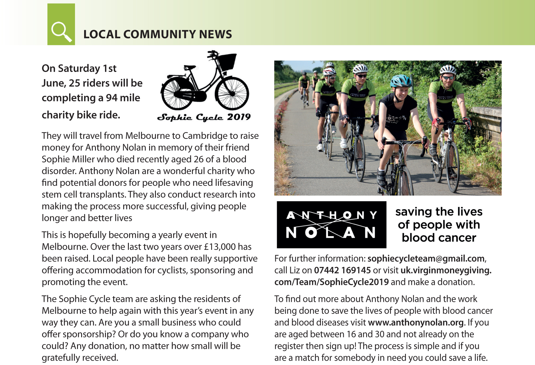 Melbourne Community News. Charity Bike ride