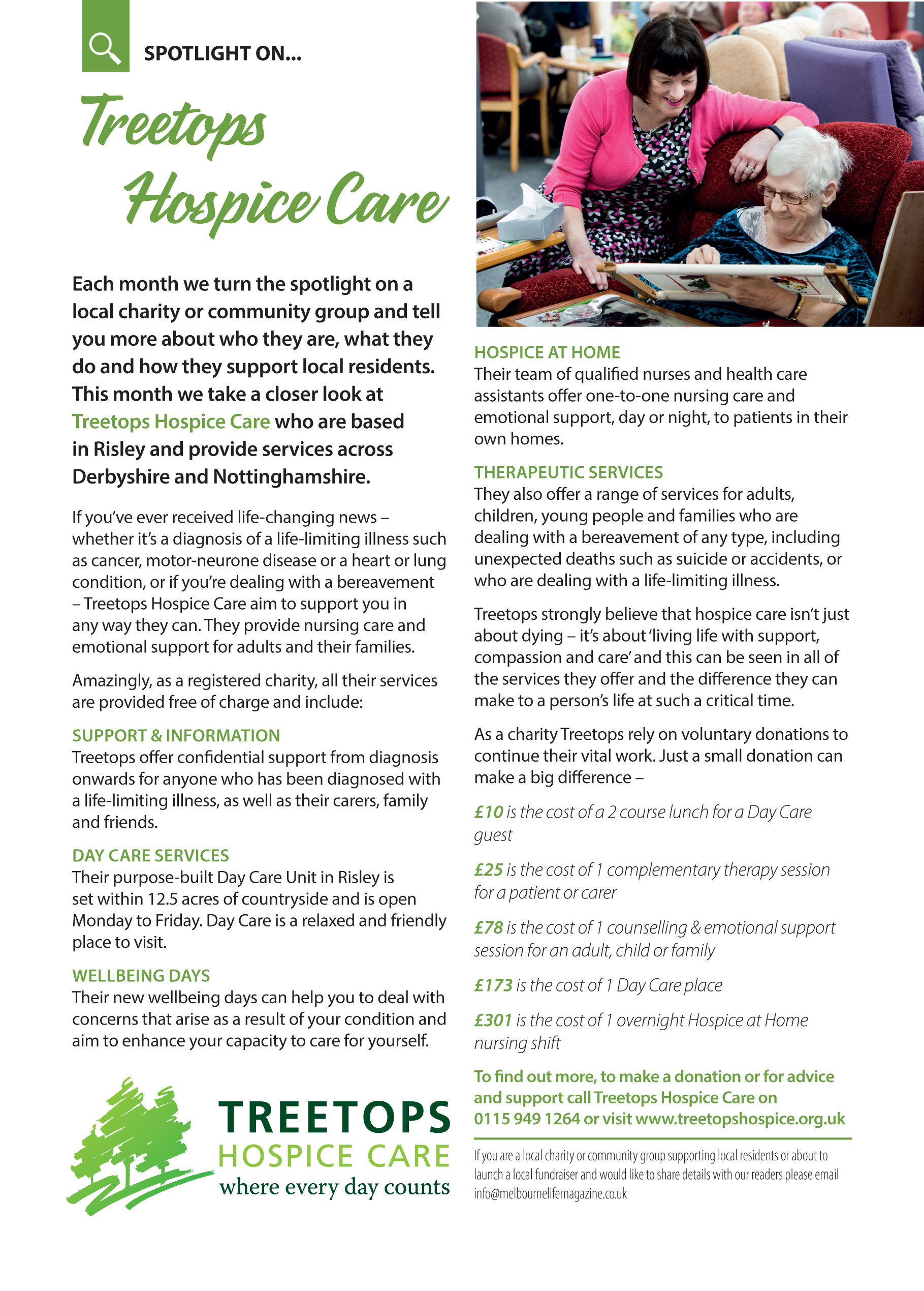 Our spotlight charity this month is Treetops Hospice Care